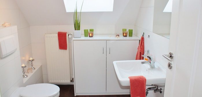 salle de bain moderne avec w.c. broyeur